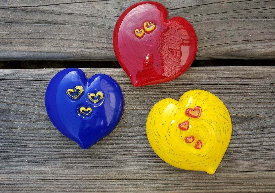 Heart Paperweights Available at Fusion Art Glass